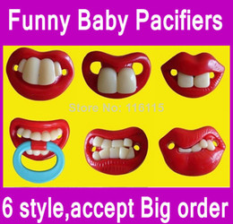 Wholesale Funny Pacifiers - 30ps lot,Mixed 6 designs Fast ship Funny Soother Nipple Nuk Billy Teeth Baby Pacifiers Pacifier,funny Photo tool,OPP package