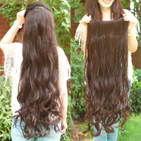 Wholesale Clip Hair Light Brown - Excellent quality super long clips in hair extensions synthetic hair curly thick 1 piece for full head high quality