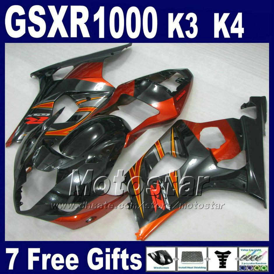 Fairing for SUZUKI GSXR 1000 K3 2003 2004 orange black fairing kit GSXR1000 03 04 GSX R1000 US81