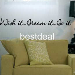 Wholesale Small Wall Decal Quotes - wish it. dream it. do it quote wall decal zooyoo8012 decorative wall decor removable vinyl wall sticker