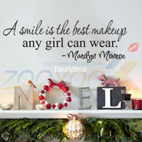 Wholesale Best Bedroom Decor - A Smile Is The Best Makeup home decor creativewall decal ZooYoo8129 decorative wall decor removable vinyl wall sticker