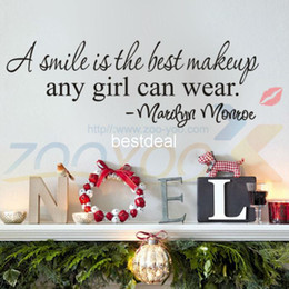 Wholesale Best Halloween Decor - A Smile Is The Best Makeup home decor creativewall decal ZooYoo8129 decorative wall decor removable vinyl wall sticker