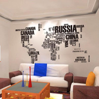 Wholesale Room Decor Wall Quote Stickers - S5Q Letter World Map Quote Removable Vinyl Decal Mural Home Decor Wall Sticker AAADDC