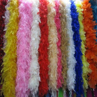 Wholesale Turkey Scarfs - Glam Flapper Dance Fancy Dress Costume Accessory Feather Boa Scarf Wrap Burlesque Feather Boa 200cm Turkey Feather Boa Strip Many Colors