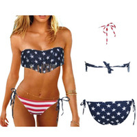 Wholesale Swimsuit Usa Color - S5Q Tassel Fringe USA American Flag Swimwear Padded Swimsuit Bathing Beach Set AAADET