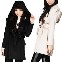 Wholesale Dotted Trench - S5Q Women Ladies Punk Funky Hoodie Hood Long Trench Coat Belt Windbraker Jacket AAADEF