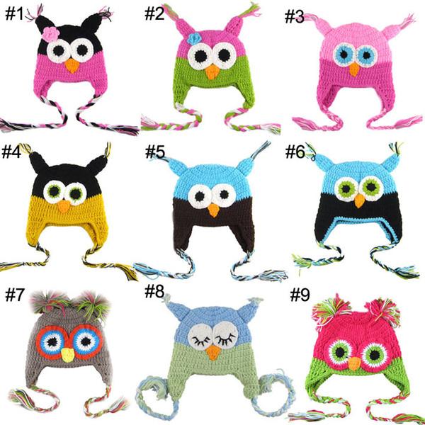 Handgemachte Eule Hut häkeln Hut Baby Mädchen Jungen Kinder Cap Owl Beanie Infant Kleinkind Earflap, Kinder Papagei Hut, Baby Tier Stil