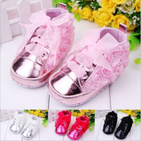 Wholesale Rose Baby Shoes White - Wholesale-Baby Toddler Shoes sapatos kids Rose flower soft sole girl shoes baby first walkers 4 colors 6 pairs l