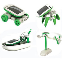 Wholesale Solar Fan Boat - New DIY 6 in 1 Solar Educational Kit Toy Boat Fan Car Robot Power Moving Dog Novelty Toys HG-03371