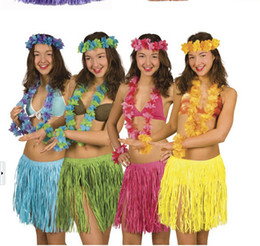 Wholesale Hawaiian Costumes Wholesale - Artificial Plastic Fibers Hawaiian Grass Dance Skirt Game Performance Costumes Fans Cheer Accessories Party Decoration (Set of 5)