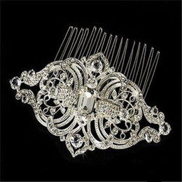 Wholesale Designer Bridal Jewelry - Exquisite Royal Designer Vintage Combs Tiara Clear Rhinestone Crystal Silver Pageant Wedding Bridal Tiara Hair Combs Clip Jewelry 3075SNHC