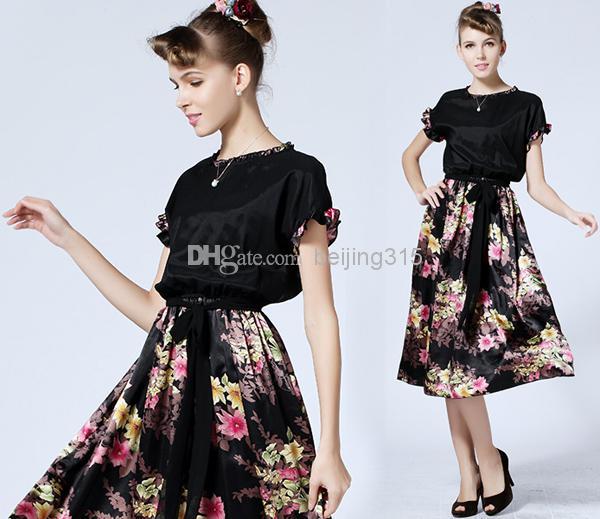 الأناقة 2015 ثوب المرأة الدانتيل طوق قصيرة الأكمام الحرير الحرير اللباس زائد الحجم سيدة الركبة طول فستان زهري طباعة الشاطئ