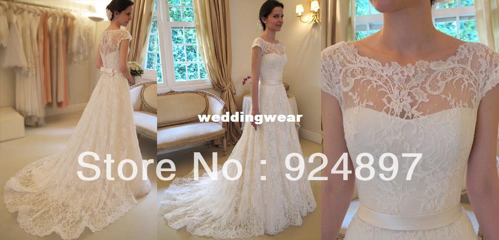 Discount Fashion A Line Cap Sleeve Belt Irish Lace Wedding ...