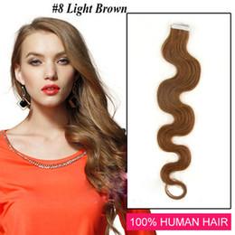"""Cheveux clairs de peau marron en Ligne-Vente en gros - 14 """"- 24"""" 100% humaine PU EMY Tape Extensions de cheveux de la peau 2.5g / pcs 40pcs100g / set # 8 vague de corps brun clair"""