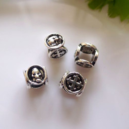 Wholesale large cross charms - 20pcs Tibetan Silver plated with Cross & Skull Design European Large Hole Beads Fit Charm Bracelet Chain Making Jewelry Findings
