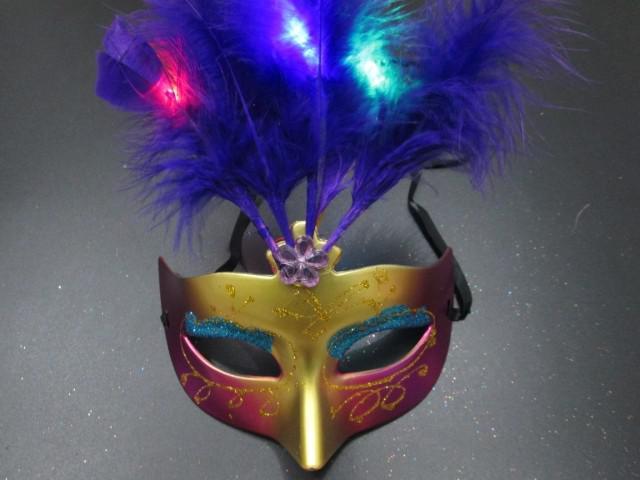 Maschera veneziana della mascherina della principessa della polvere dell'oro di RGB Flash della novità Maschera veneziana del Masquerade del PVC nuova mascherina del partito di Halloween