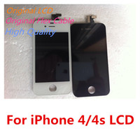 Wholesale 4g Color Lcd - Great A LG Sharp LCD + Original Flex Cable + Touch Screen Digitizer Display For iPhone 4 4g CDMA 4s White & Black Color DHL Free Shipping