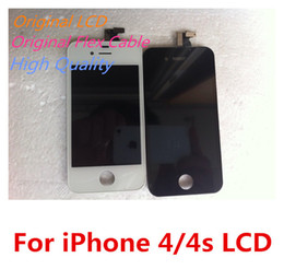 Wholesale Iphone 4s Color Lcd - Great A LG Sharp LCD + Original Flex Cable + Touch Screen Digitizer Display For iPhone 4 4g CDMA 4s White & Black Color DHL Free Shipping