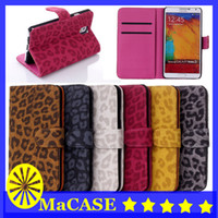 Wholesale Galaxy S3 Wallet Case Leopard - For iphone 4 4S 4G 5 5S 5G For Samsung galaxy S5 S4 S3 note 3 note2 S3mini NEW ARRIVAL Leopard Stand Leather Wallet Case Free Shipping