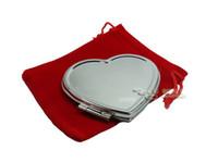 espelho de maquiagem coração venda por atacado-Em Forma de Coração de prata Espelhos Compactos Em Branco Espelho de Maquiagem + LIVRE BOLSAS VERMELHAS Nupcial Favores Do Casamento Presente 10X Transporte da gota # m0838