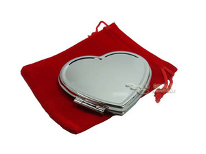 Silver Heart Shaped Compact Mirrors Blank Makeup Mirror +FREE RED POUCHES Bridal Wedding Favors Gift 10X Drop Shipping#m0838