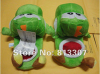 """Wholesale Mario Shoes - Super Mario Brothers 5Colours Yoshi Slippers Plush 11"""" int yoshi (black pink red blue green) slipper indoor shoes"""