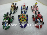Wholesale Super Mario pvc toy plastic doll Kart version of the back car portfolio set inch cm