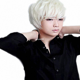 Wholesale Mens Wigs Short - Cool2day Handsome Natural Short Straight Wigs-White-Mens JF011004