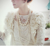 Wholesale Long Best Friend Necklaces - 1pcs Multilayer Imitation Pearl Chain Beaded Necklaces Long Sweater Chain Necklace Pearls Sautoir Pendants for Ladies Friend Best Gift X1189