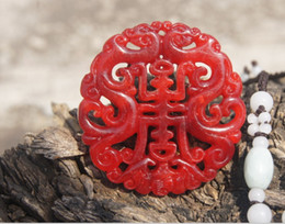 Wholesale Hand Carved Necklace - Hand-carved double-sided jade carving. Ssangyong send blessings sent (life). Talisman necklace pendant