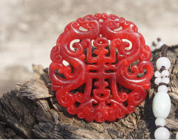 Hand-carved double-sided jade carving. Ssangyong send blessings sent (life). Talisman necklace pendant