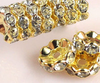 Wholesale Gold Spike Beads Wholesale - 8mm 10mm 500 pcs lot white Clear Crystal Rhinestone Rondelle wave Spacer Beads, Silver Gold Plated Jewelry Loose DIY Bead fit bracelet