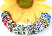 Wholesale Big Hole Crystal Rhinestone Beads - 100 pcs lot 10mm 12mm White mixed multicolor Rhinestone Silver Plated Big Hole Crystal European Beads spacer, Loose Bead Bracelets Findings.