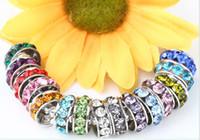silber spacer perlen armbänder großhandel-100 teile / los 10mm 12mm Weiß gemischt multicolor Strass Versilbert Großes Loch Kristall Europäischen Perlen spacer, Lose Perlen Armbänder erkenntnisse.