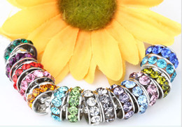 China 100 pcs lot 10mm 12mm White mixed multicolor Rhinestone Silver Plated Big Hole Crystal European Beads spacer, Loose Bead Bracelets Findings. cheap mixed big hole rhinestone beads suppliers