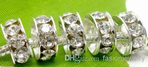 / 10mm 12mm blanc mélangé multicolore strass argent plaqué grand trou cristal européen Perles spacer, résultats de bracelets de perle lâche.