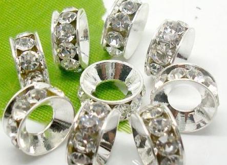 100 قطعة / الوحدة 10 ملليمتر 12 ملليمتر الأبيض مختلط متعدد الألوان حجر الراين الفضة مطلي الحفرة الكبيرة كريستال الخرز الأوروبي فاصل ، فضفاض الخرزة أساور النتائج.