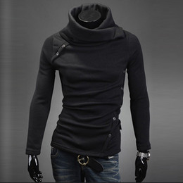 Wholesale Rolled Collars - FreeShipping Mens Heap Collar Knit Sweater Coat Pullover Long Sleeve High Rolled Neck Shirts YTY73 DropShipping