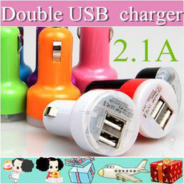 Wholesale Banks Autos - 1000XX Colorful Dual USB 2 Port Car Charger Cigarette 2.1A Auto Power Adapter for iphone 4 5 ipad Samsung AA