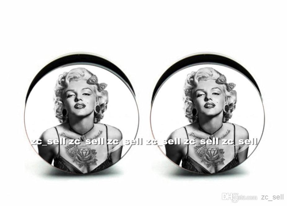 Wholesale 60pcs body piercing jewelry Marilyn Monroe logo plug black acrylic screw fit ear plug gauges flesh tunnel size 6mm-25mm ASP0368
