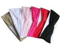 Wholesale Womens Wide Hair Bands - Womens Solid Wide BOHO Headband Lace Hair Band Twist Head Wraps Turban