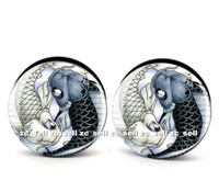 Wholesale Yin Yang Plugs - Wholesale 60pcs body piercing jewelry yin and yang fish logo plug black acrylic screw fit ear plug gauges flesh tunnel size 6mm-25mm ASP0152