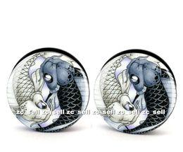 Wholesale black tunnels - Wholesale 60pcs body piercing jewelry yin and yang fish logo plug black acrylic screw fit ear plug gauges flesh tunnel size 6mm-25mm ASP0152
