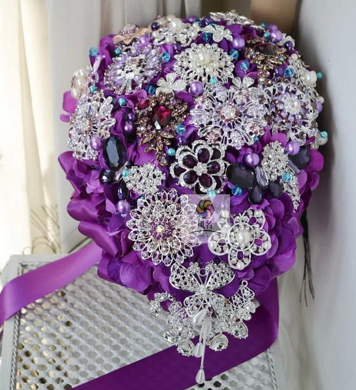 The Bride Purple Bouquet Beadwork, Brooch Waterfall Wedding Bouquet ...