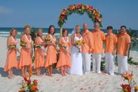 Wholesale Picture Friend - Beach Orange Short Front Long Back Bridesmaid Dresses Halter Chiffon Asymmetrical Bridal Friend Dress