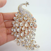 "Wholesale Peacock Rhinestone Jewelry - Wholesale - new 2014 4.33"" H-Quality Peacock Brooch Pins w  Rhinestone Crystal Popular Jewelry Party"