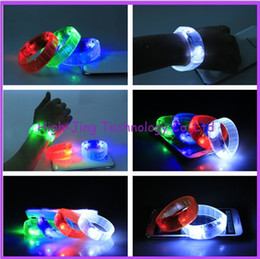 Wholesale Light Up Led Bracelet - Sound Controlled Voice activated LED Light Up Bracelet Bangle flash wristband many color for your choose