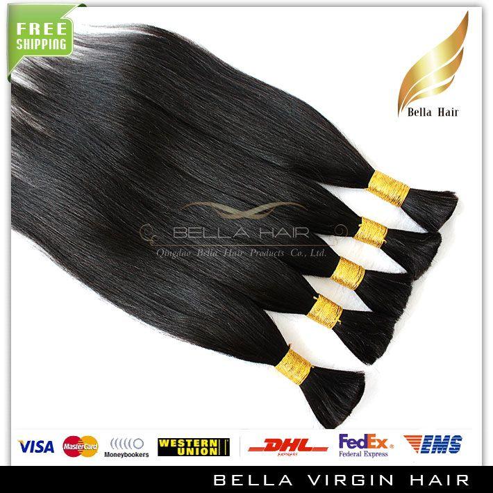 18 20 22 24 26 tum Naturfärg Straight Hair Buls obearbetade brasilianska mänskliga bulkhår 3 buntar hårförlängningar Gratis frakt
