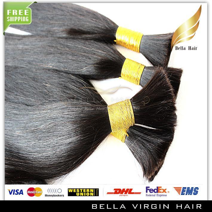 Włosy Bulks 100% Brazylijski Nieprzetworzone 100g / szt Naturalny Kolor Jedwabiste Proste Ludzkie Przedłużanie Włosów