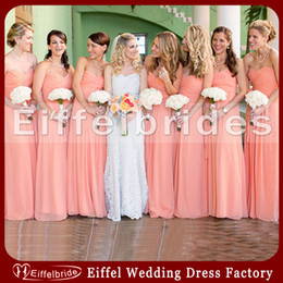 Wholesale Bridesmaid Short Peach Sexy - Peach Color Bridesmaid Dress 2016 Latest with Sexy Sweetheart Neckline and Embellished Pick-ups A-line Floor-Length Chiffon Evening Dresses